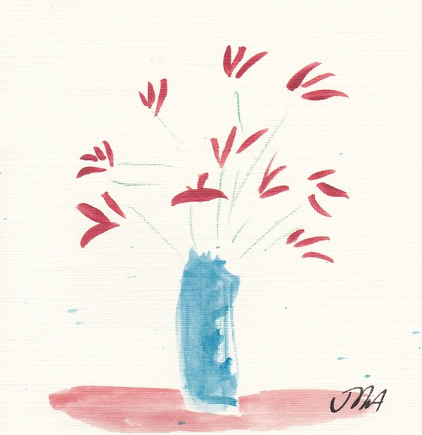 delicate red flowers blue vase