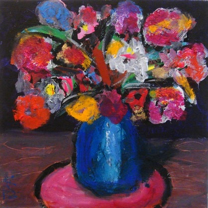 flowers in blue jug on pink mat sm