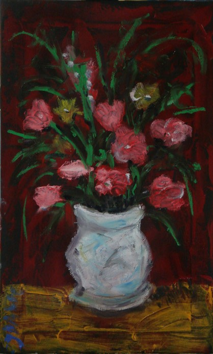 red flowers white vase small
