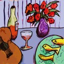 still life with guitar and fish 4 print sq1